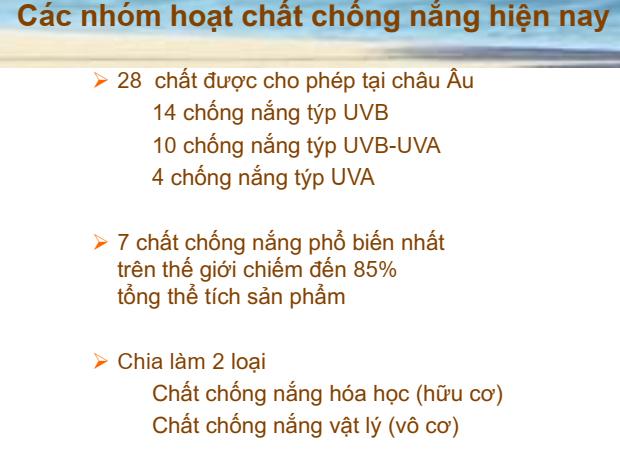 Những hoạt chất chống nắng hiện nay theo bài giảng bác sĩ Lê Thái Vân Thanh